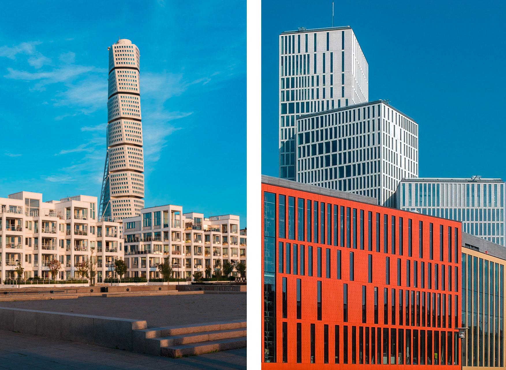 Moderne Architektur in Schweden in Malmoe steht der Turning Torsolinks und rechts das Congress und die Konzert Halle Malmoe Live
