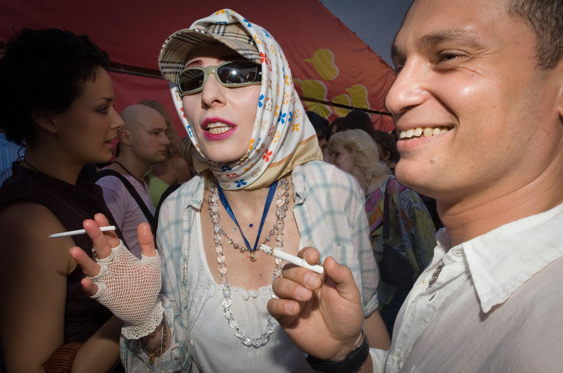 In Moskau bei einer Feier des Mode Magazins ELLE auf den Sperlingsbergen war die Rocksängerin Zhanna Aguzarova VIP Gast