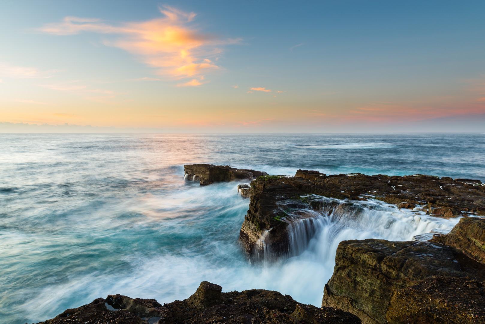 Australia Norah-Head, waves at rocky coast